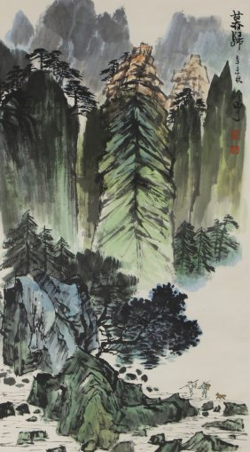 A Chinese Paper Hanging Painting Scroll By Qing,