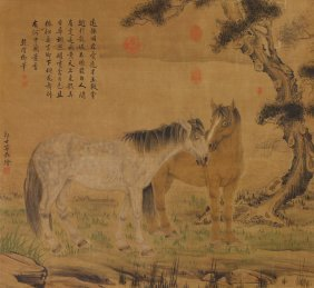 A Chinese Antique Paper Painting By Lang, Shining