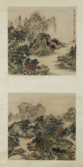 A Chinese Paper Painting Scroll By Ding, Yunpeng