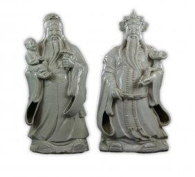 Two (2) Massive Chinese White Glazed Porcelain Figures