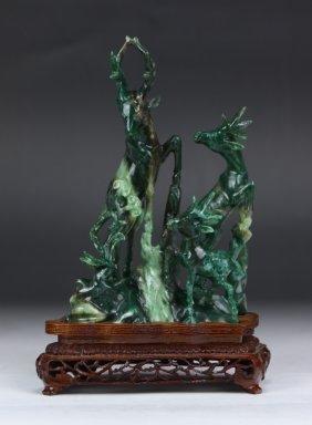 A Chinese Nanyang Jade Carved Deer Group