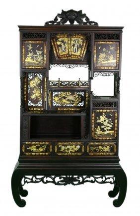 A Japanese Applique Hardwood Carved Cabinet