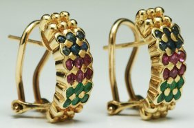 Pair Of Ruby, Sapphire & Emerald Earrings