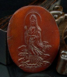 An Antique Chinese Horn Guanyin Carving Plaque