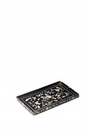 Wooden Tray With Black Lacquer Finish
