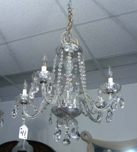 OLD, FIVE LIGHT CRYSTAL CHANDELIER