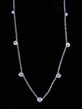"LADIES 14K WHITE GOLD ""DIAMOND BY THE YARD"" NECKLAC"