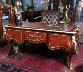 LOUIS XVI STYLE FIVE DRAWER DESK W/ HEAVY BRONZE OR