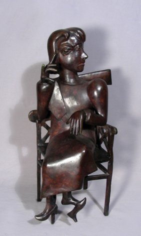 "UNUSUAL, HEAVY, PICASSO STYLE BRONZE ""GIRL SEATED I"