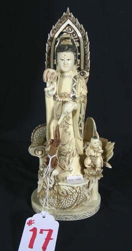 CHINESE HAD CARVED BONE SCULPTURE OF GEISHA WITH CH