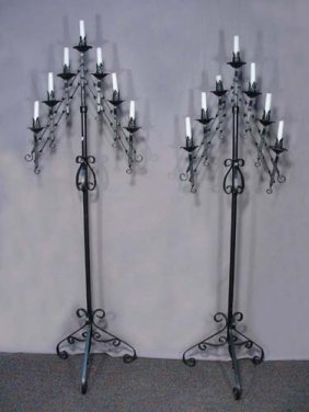 Pair Vintage Wrought Iron Floor Candelabra