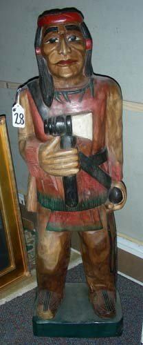 Hand Carved Cigar Store Indian