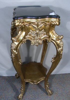 French Hand Carved Gilt Pedestal With Marble Top