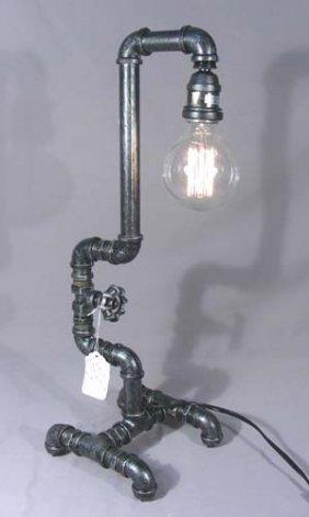 Unusual Pipe Motif Table Lamp
