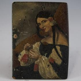 Antique Russian Oil On Board Portrait