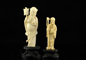Lot Of Two Chinese Ivory Figures On Wooden Bases