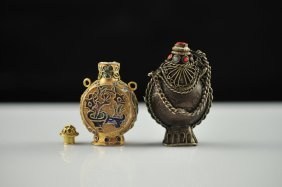 Lot Of Two Chinese Metal And Multi Stone Snuff Bott