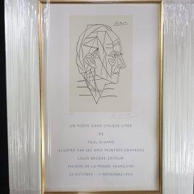 """""""un Poeme Dans Chaque Livre De Paul Eluard"""" Lithograph"""