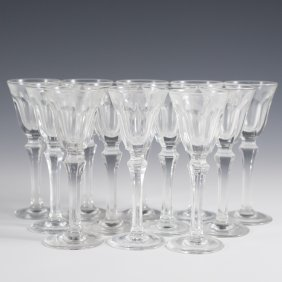 12 Clear Glass Chalice Shot Glasses.
