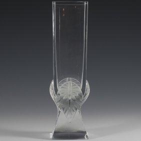 Lalique Square Crystal Vase