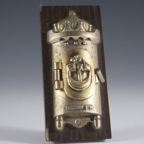 Frank Meisler Bronze & Wood Desk Mezuzah