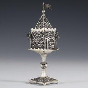 Israeli Sterling Figural Judaic Besamin Spice Tower