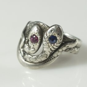 Sterling & Ruby & Sapphire Ring