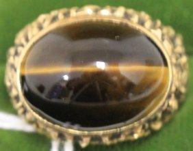 18kt Gold Man's Ring With Dark Tiger Eye,