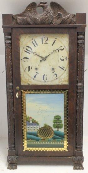 19th C Carved Split Column Mantel Clock By