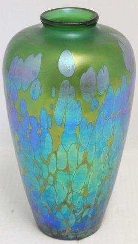 Loetz Iridescent Art Glass Vase With Oil Drip