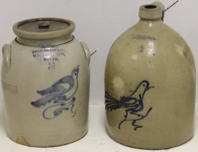 Two 19th C Blue Decorated Stoneware Pcs