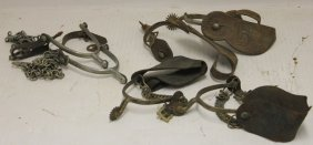 3 Pairs Of 19th C Spurs. 1 Marked Crown Silver,