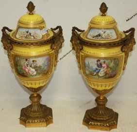 Pair Of Late 19th C Sevres Porcelain Covered Urns