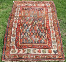 Early 19th C Caucasian Prayer Rug, Red And Orange