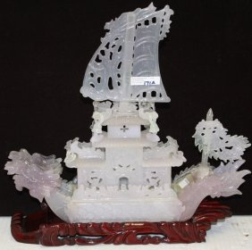 20th C Carved Jade Boat On Wooden Stand With