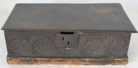 17th C Carved Bible Box, Walnut With Lift-top
