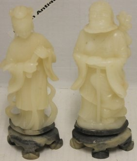 2 Chinese Carved White Jade Figures Depicting