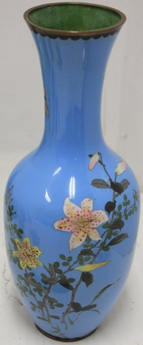 19th C Japanese Cloisonne Vase, Light Blue