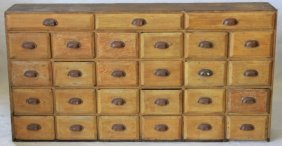 19th C Apothecary Cabinet, 27 Drawers, Old