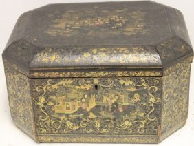 Early 19th C Chinese Lacquerware Lift-top Box,