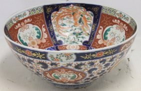 19th C Imari Punch Bowl With Bird Of Paradise