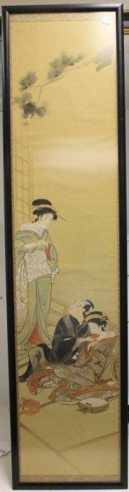 Japanese Painting On Silk Depicting 2 Geisha