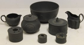 """Wedgwood Basalt Ware Lot To Include A 7"""" Bowl,"""