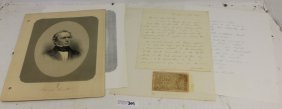 Autographed Signed Letter By Edward Everett,