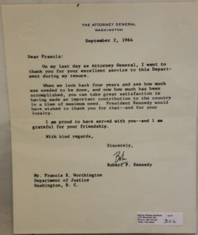 Robert F. Kennedy Typewritten Signed Letter,