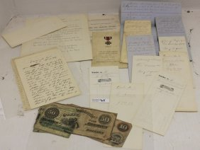 19 Pcs Civil War Era Ephemera To Include 2 Lists