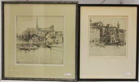 Ernest David Roth (1879-1964), 2 Framed Etchings.