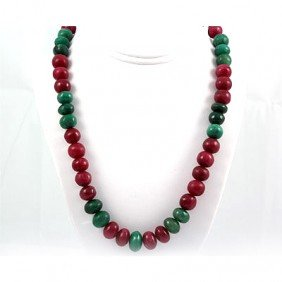 48ctw Emerald & Ruby Big Round Beads Necklace