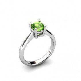 Peridot 0.85ctw Ring 14kt White Gold