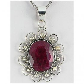 52ctw APPROX Silver Oval Shape Ruby Pendant